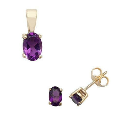 Amethyst Pendant and Earrings Set Oval Solitaire 9ct Yellow Gold Hallmarked